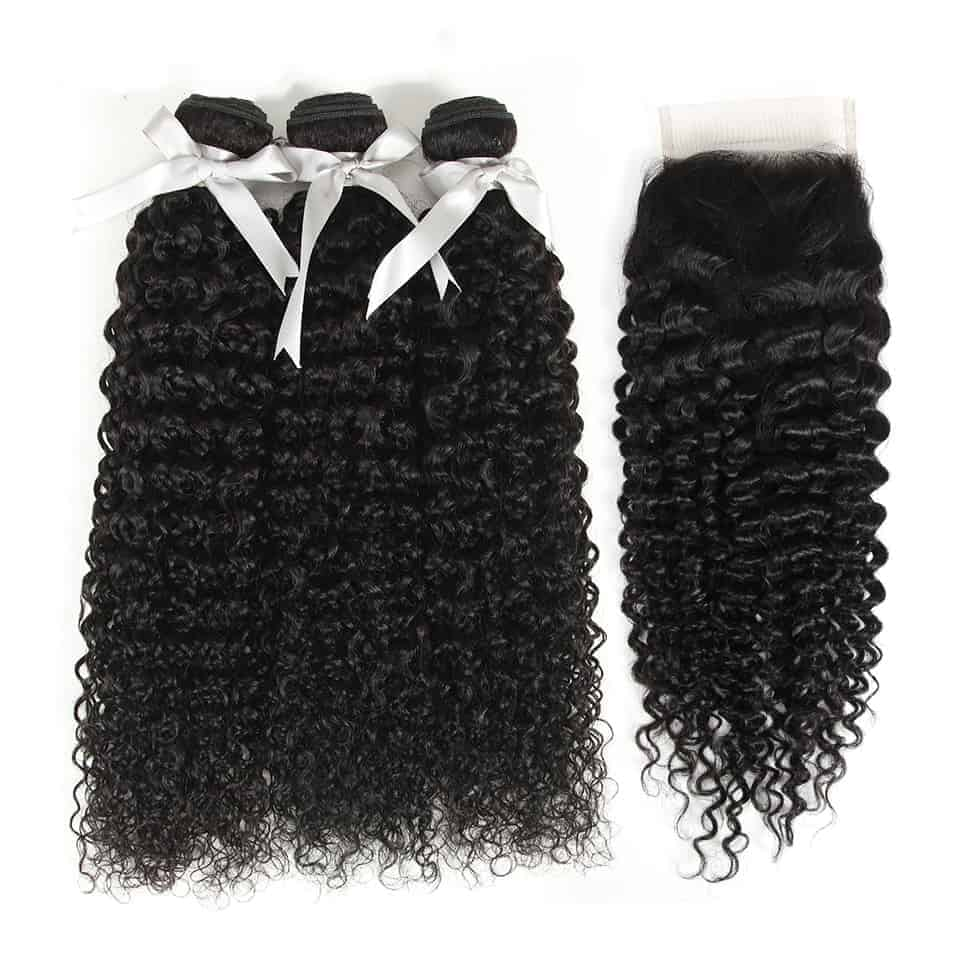 Brazilian Kinky Curly 3&4 Bundles With Closure Human Hair Weave Extensions (4)