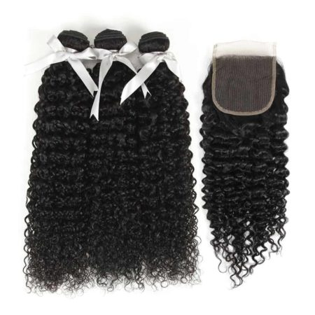 Brazilian Kinky Curly 3&4 Bundles With Closure Human Hair Weave Extensions (5)