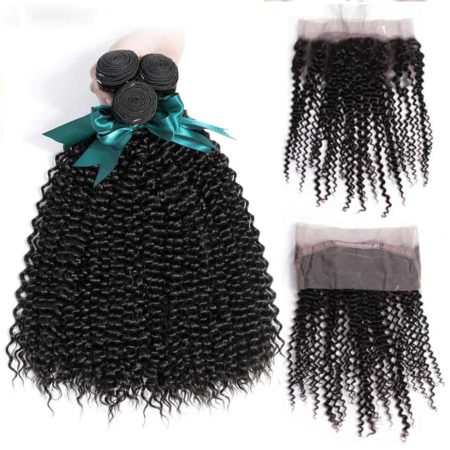 Brazilian Kinky Curly Human Hair 3 Bundles With 360 Frontal Closure (5)