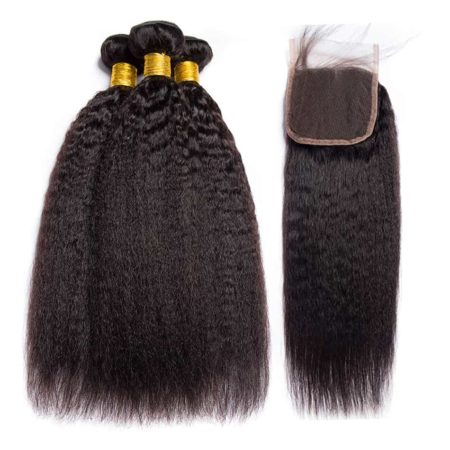 Brazilian Kinky Straight Human Hair Bundles With Closure 4x4 (6)