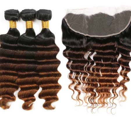 Brazilian Loose Deep Wave 13x4 Swiss 1B 4 30 Lace Frontal Closure with 3 or 4 Hair Bundles (1)