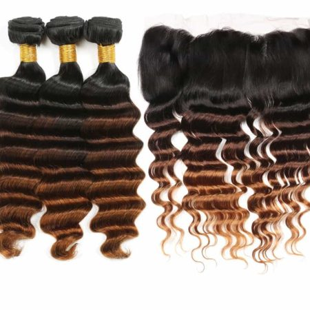 Brazilian Loose Deep Wave 13x4 Swiss 1B 4 30 Lace Frontal Closure with 3 or 4 Hair Bundles (4)