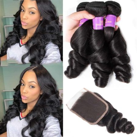Brazilian Loose Wave 3 Bundles Hair Weave With Closure (6)