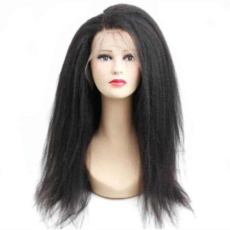 Brazilian Natural Colour Kinky Straight Human 360 Lace Frontal Wig 150% Density (1)