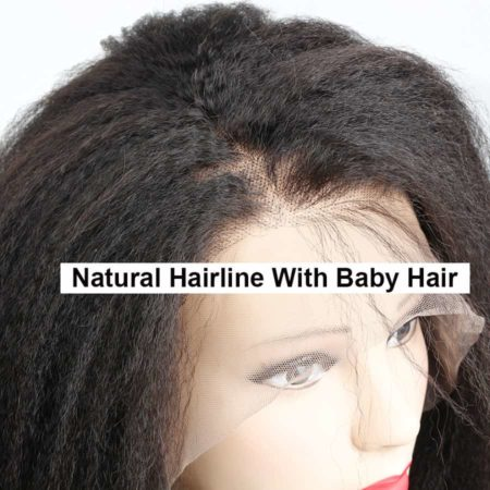 Brazilian Natural Colour Kinky Straight Human 360 Lace Frontal Wig 150% Density (3)