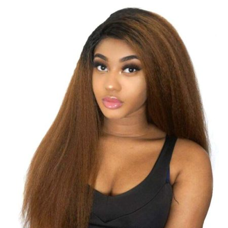 Brazilian Ombre Kinky Straight Hair 13X4 Lace Front Wigs Human 1B 30 Color (1)