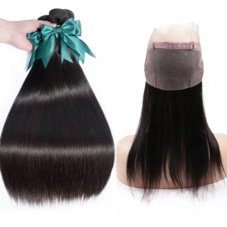 Brazilian Straight 360 Lace Frontal Closure With 3 Bundles Remy Human Hair (1)