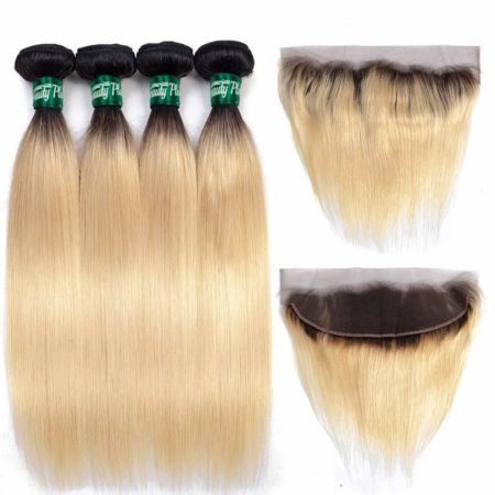 Brazilian Straight Dark Roots 1B 613 Blonde Hair Bundles With Lace Closure (5)