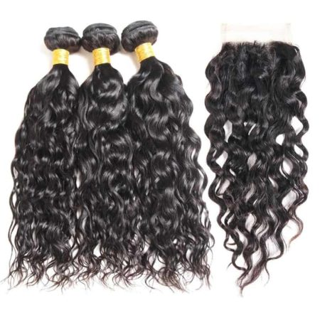 Brazilian Water Wave 3 Bundles Natural Color Wet and Wavy Hair with Lace Closure (1)