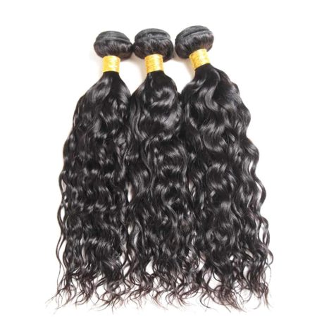 Brazilian Water Wave 3 Bundles Natural Color Wet and Wavy Hair with Lace Closure (5)