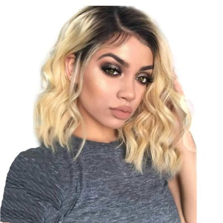 Brazilian Wavy remy Human Hair Lace Front Short Bob Cut Wig Ombre blond 1B#613 (1)