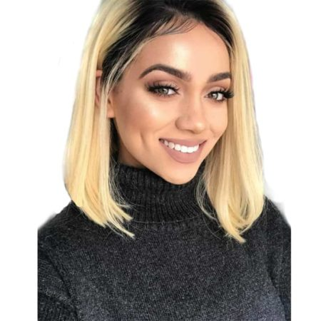 Brazilian Wavy remy Human Hair Lace Front Short Bob Cut Wig Ombre blond 1B#613 (3)