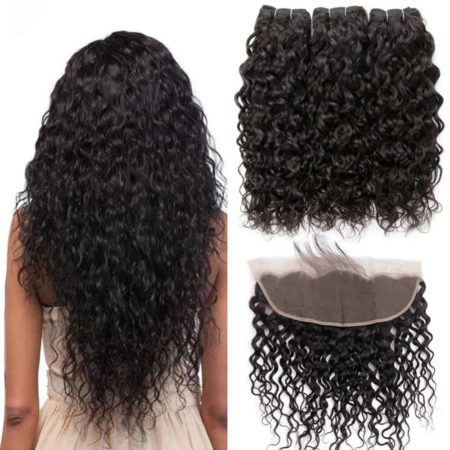Brazilian Wet And Wavy Human Hair Weave 3 Bundles Deal With 13x4 Lace Frontal (1)