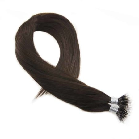 Brown Color #4 Bonded Nano Ring Human Hair Extension (1)