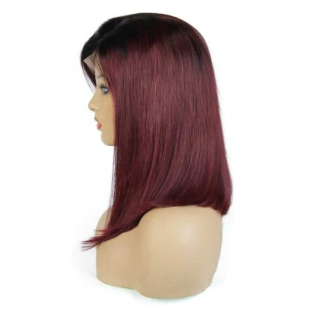 Burgundy Bob Wig Straight 1b 99J Ombre Lace Front Human Hair With Baby Hair (3)