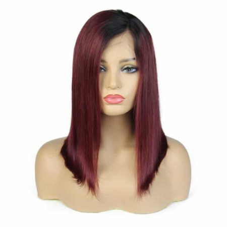 Burgundy Bob Wig Straight 1b 99J Ombre Lace Front Human Hair With Baby Hair (4)