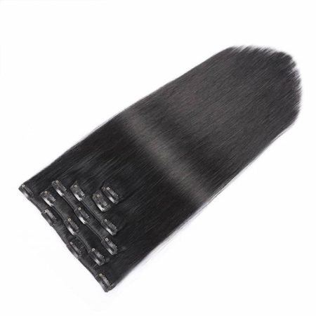 Full Head Indian Clip In Hair Extensions #1b Silky Straight 7pcsset (3)