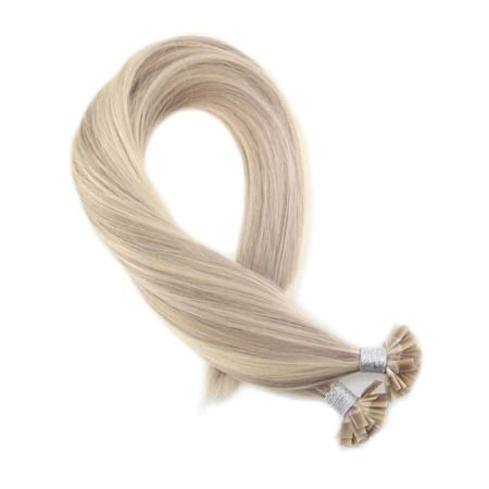 Fusion Keration Straight Flat Tip Ash Blonde with Bleach Blond Human Hair Extensions (2)