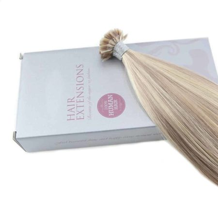 Fusion Keration Straight Flat Tip Ash Blonde with Bleach Blond Human Hair Extensions (4)