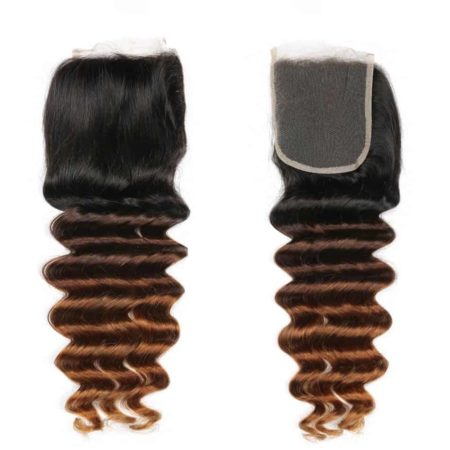 Human Brazilian 3 Tone Ombre Loose Deep Wave Lace Closure Hair T1B 4 30 (1)