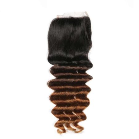 Human Brazilian 3 Tone Ombre Loose Deep Wave Lace Closure Hair T1B 4 30 (2)