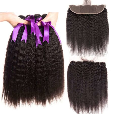 Human Brazilian Kinky Straight Hair 2 Or 3 Bundles With Frontal Hair Weave (2)