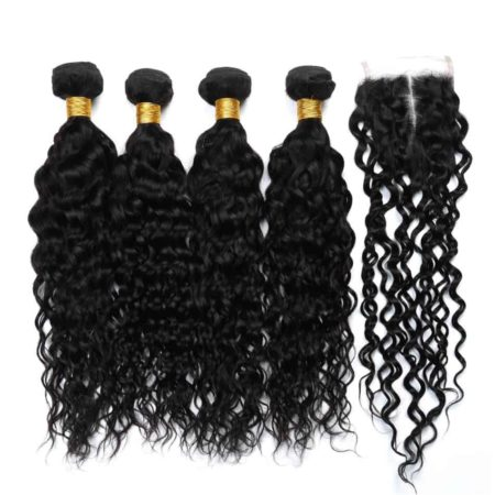 Human Malaysian Water Wave 4 Bundles Hair With Lace Closure Middle Free Three part (2)