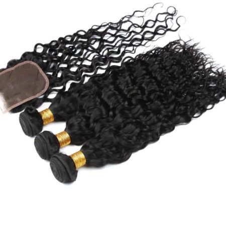Human Malaysian Water Wave 4 Bundles Hair With Lace Closure Middle Free Three part (5)