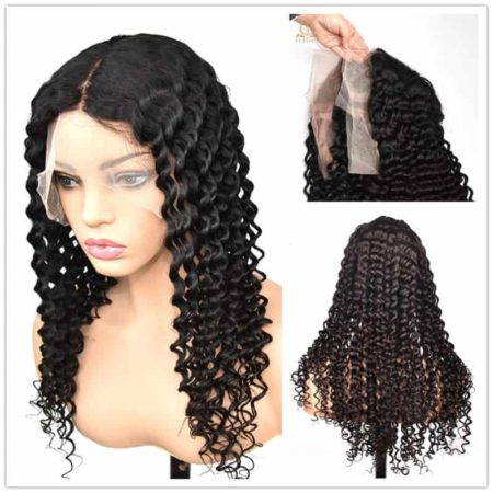 Indian 100 Human Curly Transparent Full Lace Wigs Deep Wave Glueless Preplucked Baby Hair (1)