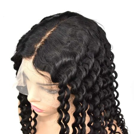 Indian 100 Human Curly Transparent Full Lace Wigs Deep Wave Glueless Preplucked Baby Hair (4)