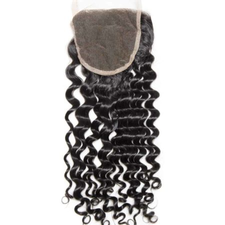 Indian 130% Density Deep Curly Human Hair Swiss Lace Closure With Baby Hair pre plucked (5)