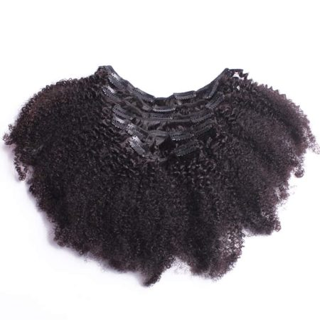 Indian Clip In 4B 4C Afro Kinky Curly Human Hair Extensions (2)