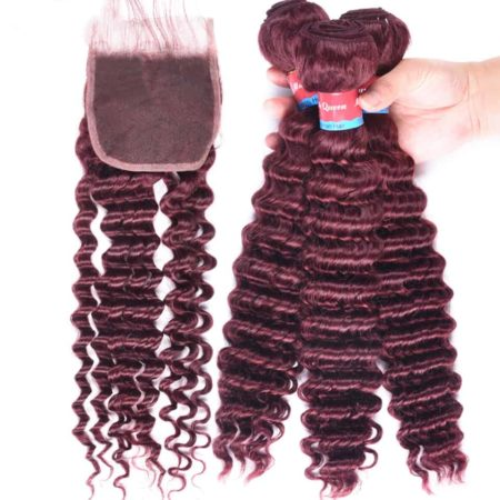 Indian Deep Wave #99J Red Wine Hair 3 Bundles With Lace Closure (2)