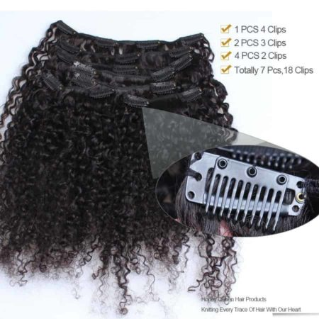 Indian Kinky Curly Clip In Human Hair Extensions 120gSet 3B 3C (1)