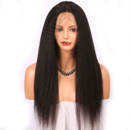 Indian Kinky Straight Lace Front Wigs Human Hair Middle Part Natural Color (1)