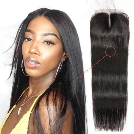Indian Silk Base 4x4 Closure Remy Straight 100% Human Hair Pre Plucked With Baby Hair (4)