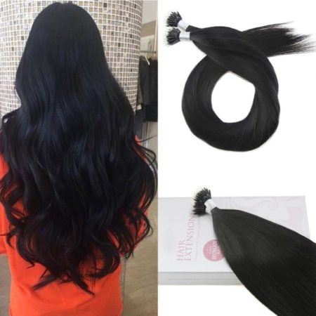 Jet Black #1 Micro Nano Hair Extensions Remy 100% Human Hair 0.8gstrand 50Strands40G (2)