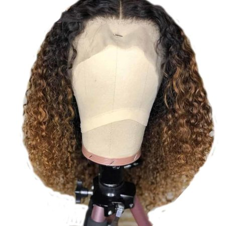 Kinky Curly Ombre Honey Blonde Lace Front Bob Wigs (1)