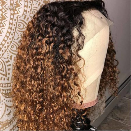 Kinky Curly Ombre Honey Blonde Lace Front Bob Wigs (5)