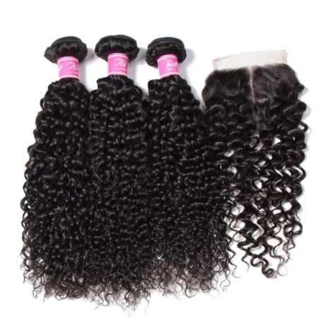 Malaysian Curly Human Hair 3 Bundles With Closure Free or Middle or Three Part (5)