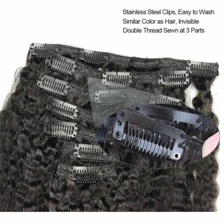 Malaysian Kinky Straight Clip In Human Hair Extensions Coarse Yaki (5)