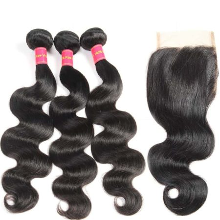 Natural Color Indian Body Wave 3 Bundles Human Hair with Closure (2)