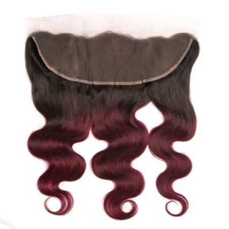 Ombre 130% Density Brazilian Body Wave Lace Frontal Hair 1b Burgundy Or 1b 33# (1)
