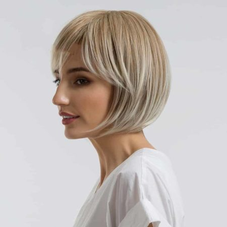 Ombre Synthetic 10 Inch Blonde Bob Wig For Women With Side Bangs (5)