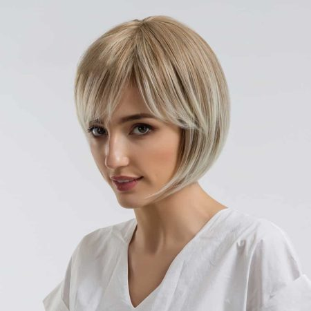 Ombre Synthetic 10 Inch Blonde Bob Wig For Women With Side Bangs (6)
