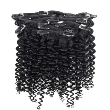 Peruvian Curly Clip In Hair Extensions 7 Pieces 120g per set Natural Color (2)