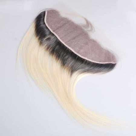 Peruvian Straight Remy Lace Frontal Ombre hair Color 1b blonde (1)