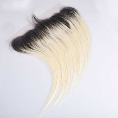 Peruvian Straight Remy Lace Frontal Ombre hair Color 1b blonde (4)