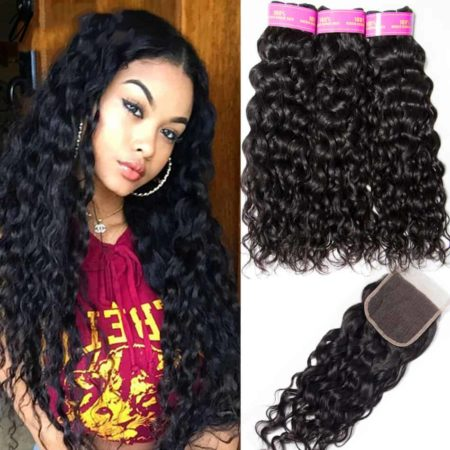 Peruvian Wet And Wavy Human Hair 3 Bundles With Closure (6)