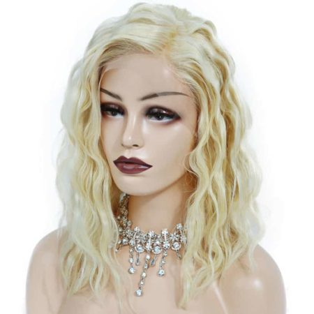 Platinum Blonde 180% Density Short Bob Human Hair Wigs Lace Front (6)